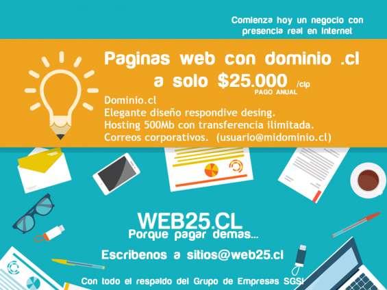 Paginas web.cl por sólo $25.000 / pago anual